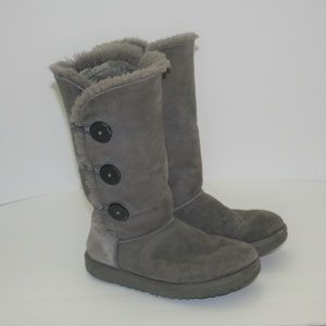 UGG Australia Grey Suede Bailey Button Boots  7